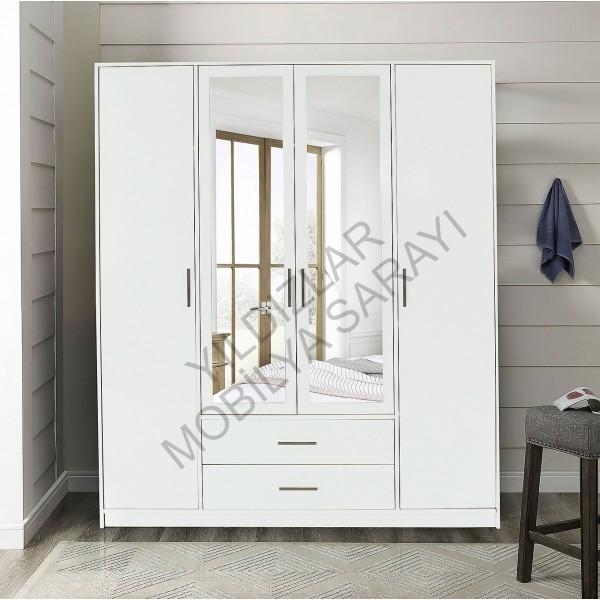 KOD NO : DLP-200 Aynalı 4 Kapaklı Dolap - Beyaz / Beyaz