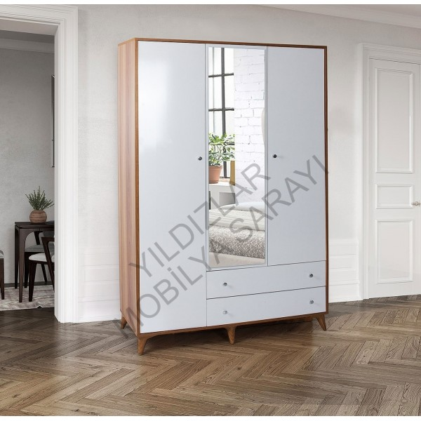 KOD NO : DLP-320 Aynalı Üç Kapaklı Dolap - Söğüt Ceviz / Beyaz