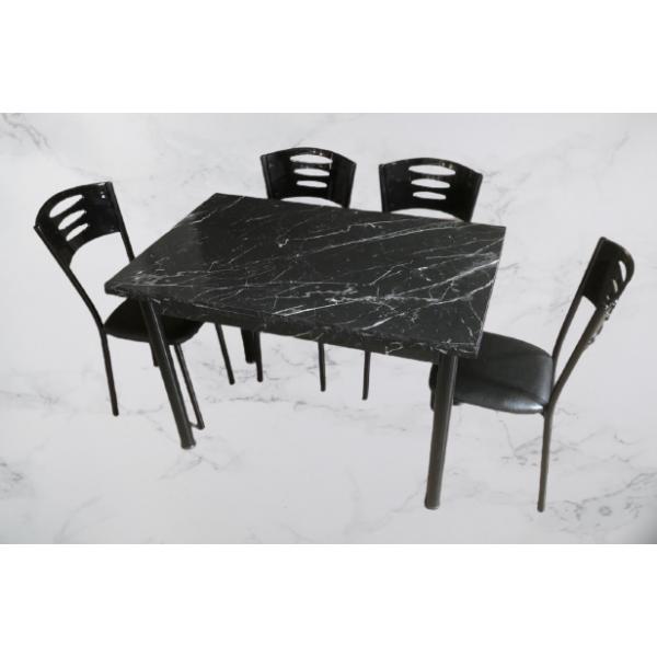 KOD NO : MASA-661 + SAN-813 (4 Adet) 70x110 - Siyah Mermer