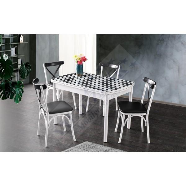 KOD NO : MASA-675 (Sadece Masa) İlaveli Camlı Masa 75x120 - Zigzag / Beyaz Ayak