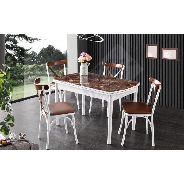 KOD NO : MASA-676 (Sadece Masa) İlaveli Camlı Masa 75x120 - Kahve Mermer / Beyaz Ayak