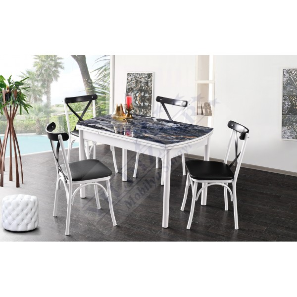 KOD NO : MASA-678 (Sadece Masa) İlaveli Camlı Masa 75x120 - Siyah Mermer / Beyaz Ayak