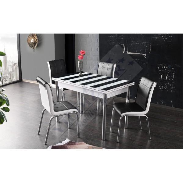 KOD NO : MASA-691 (Sadece Masa) İlaveli Camlı Masa 70x110 - Siyah Beyaz Çizgili