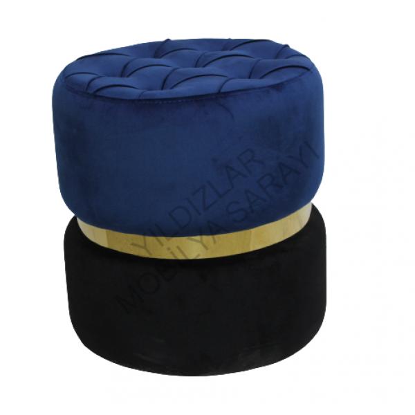 KOD NO : PUF-024 Dekoratif Puf Kapitoneli - Mavi / Siyah