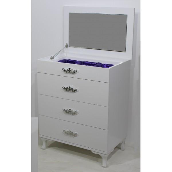 KOD NO : SIF-042 Aynalı Şifonyer -   Parlak Beyaz