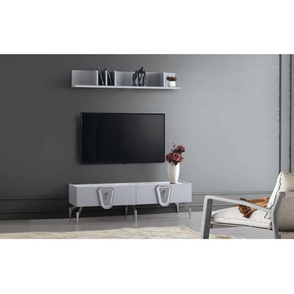 KOD NO : TV-218 + TV-220 Tv Sehpası - Metalik Krom