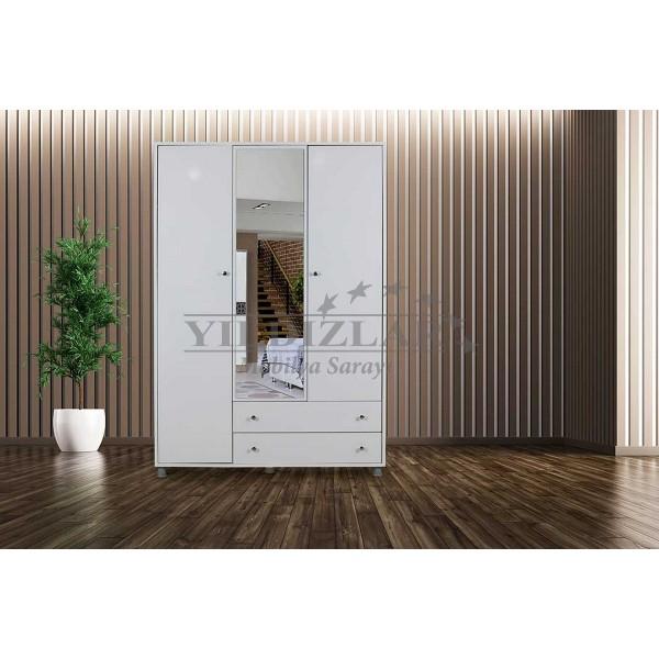 KOD NO : DLP-069 Aynalı Üç Kapılı Dolap - Beyaz