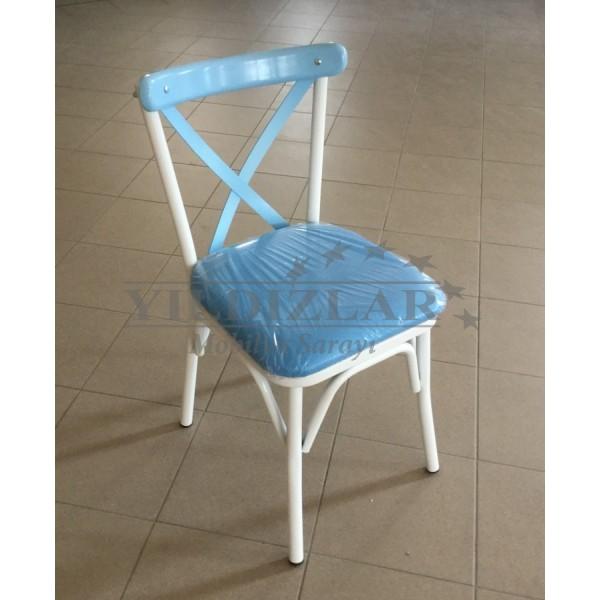 KOD NO : SAN-526 (BEYAZ/MAVİ) Sandalye