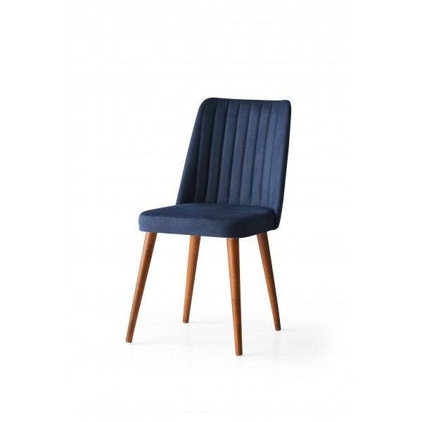 KOD NO : SAN-596 (MAVİ/CEVİZ) Sandalye