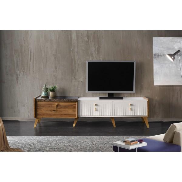 KOD NO : TV-266 (CEVİZ EKRU MERMER) TV Sehpası